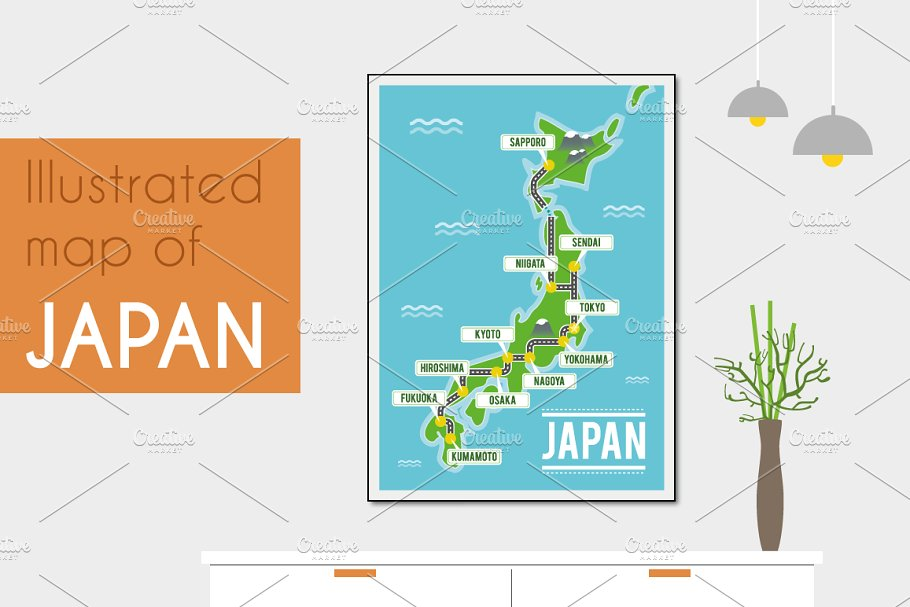 Illustrated map of Japan on