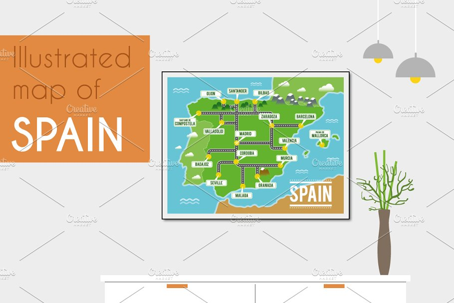 Illustrated map of Spain on
