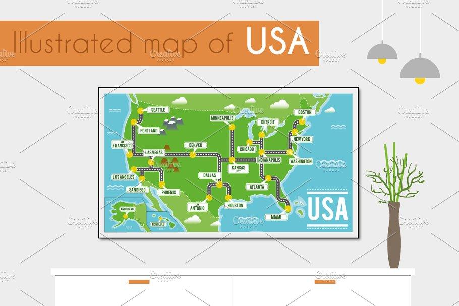 Illustrated map of USA ~ Illustrations ~ Creative Market