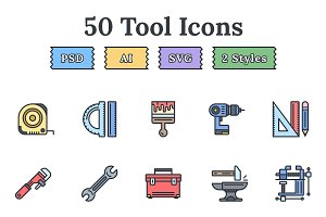 Tools & Equipment flat landing icons