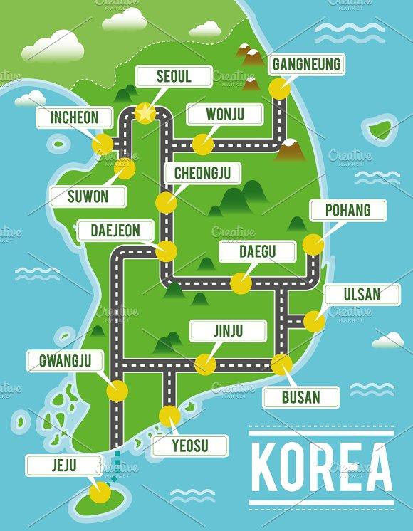 Illustrated map of South Korea on japan map, costa rica map, great britain map, russia map, united arab emirates map, portugal map, spain map, thailand map, brazil map, italy map, hong kong map, taiwan map, austria map, burkina faso map, iran map, germany map, bangladesh map, korean peninsula map, saudi arabia map,