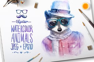 Watercolor Hipster Animals | Raccoon