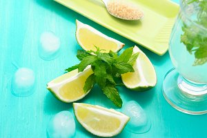 Lime wedges and mint for mojito