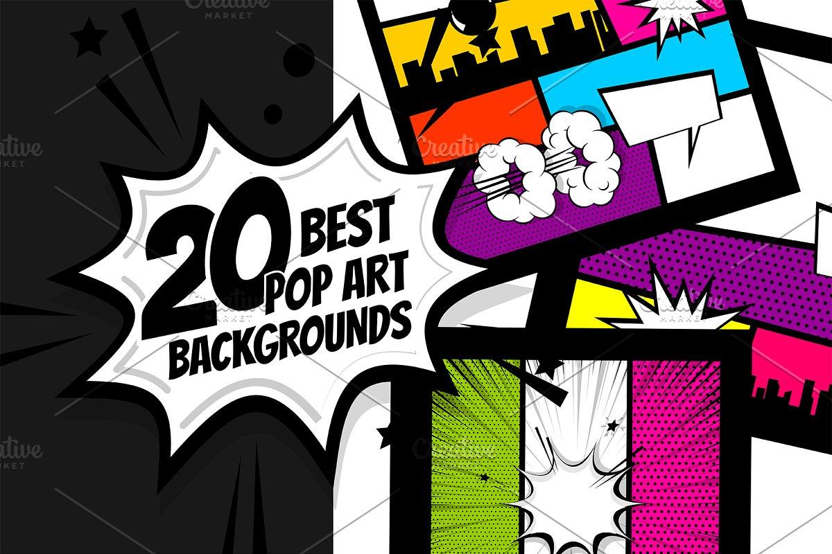 20 SET Comic Book Pop art background
