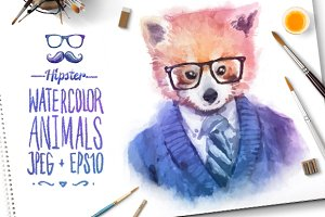 Watercolor Hipster Animals | Panda