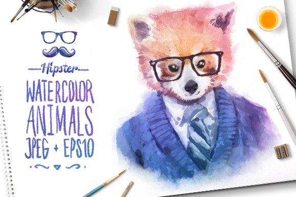 Watercolor Hipster Animals | Panda