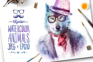 Watercolor Hipster Animals | Wolf