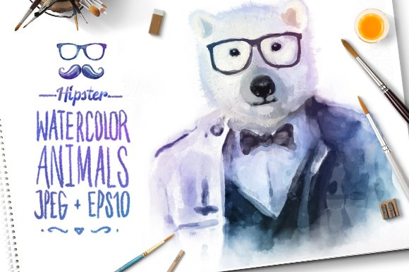 Watercolor Hipster Animals | Bear