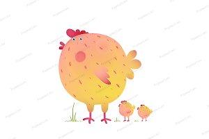 Fun Colorful Mother Chicken Bird