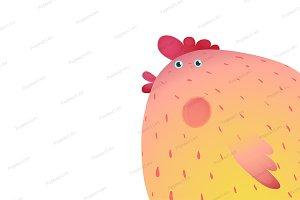 Fun Colorful Chicken Bird Background
