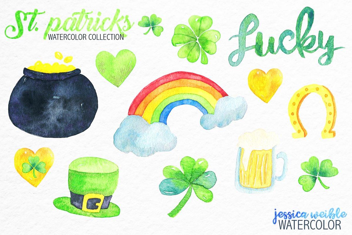 Watercolor St. Patrick's Day Clipart | Custom-Designed ...