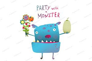Cute and Funny Monster Congratulates