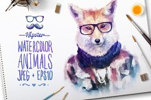 Watercolor Hipster Animals   Fox