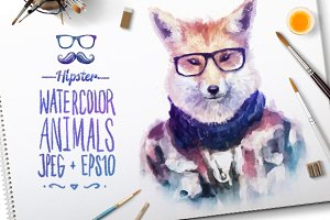 Watercolor Hipster Animals | Fox
