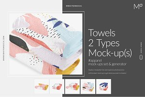 2 Types Towels Mock-up Set Generator