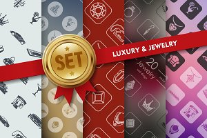 Set of luxury and jewelry icons