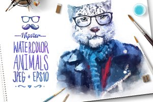 Watercolor Hipster Animals | Leopard
