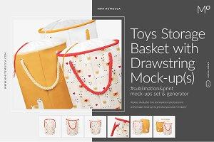 Storage Drawstring Basket Mock-ups