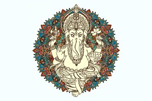 Lord God Ganesha. Hinduism. Vector