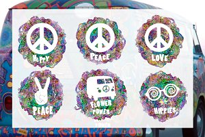 6 Signs Hippie. Ornaments. Vector