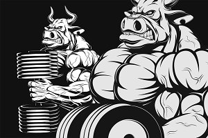 Ferocious bull with dumbbells