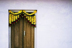 Door with Flower Decoration