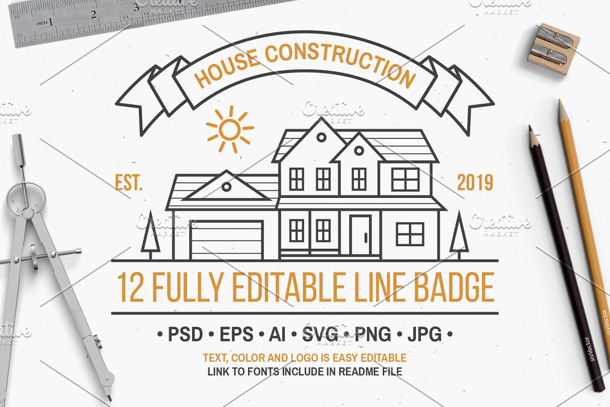 House Construction line badge in Logo Templates - product preview 8