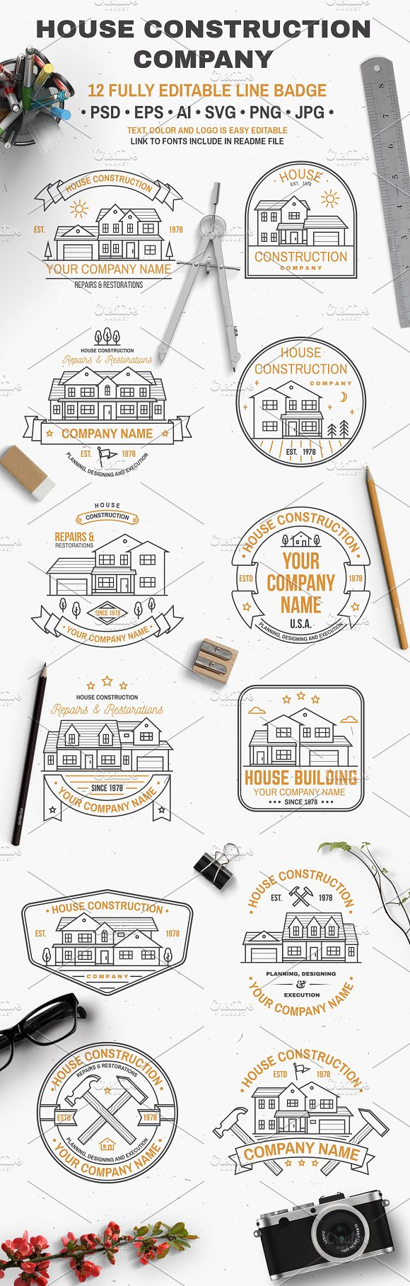 House Construction line badge in Logo Templates - product preview 1