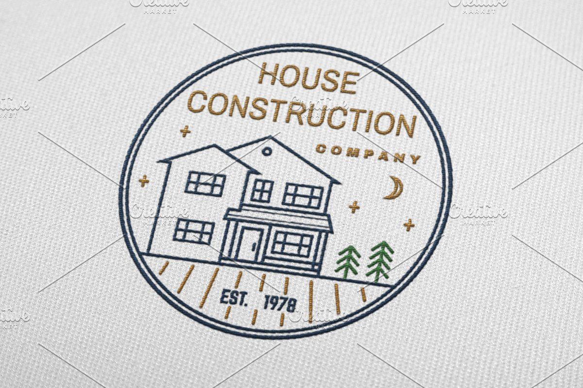 House Construction line badge in Logo Templates - product preview 2