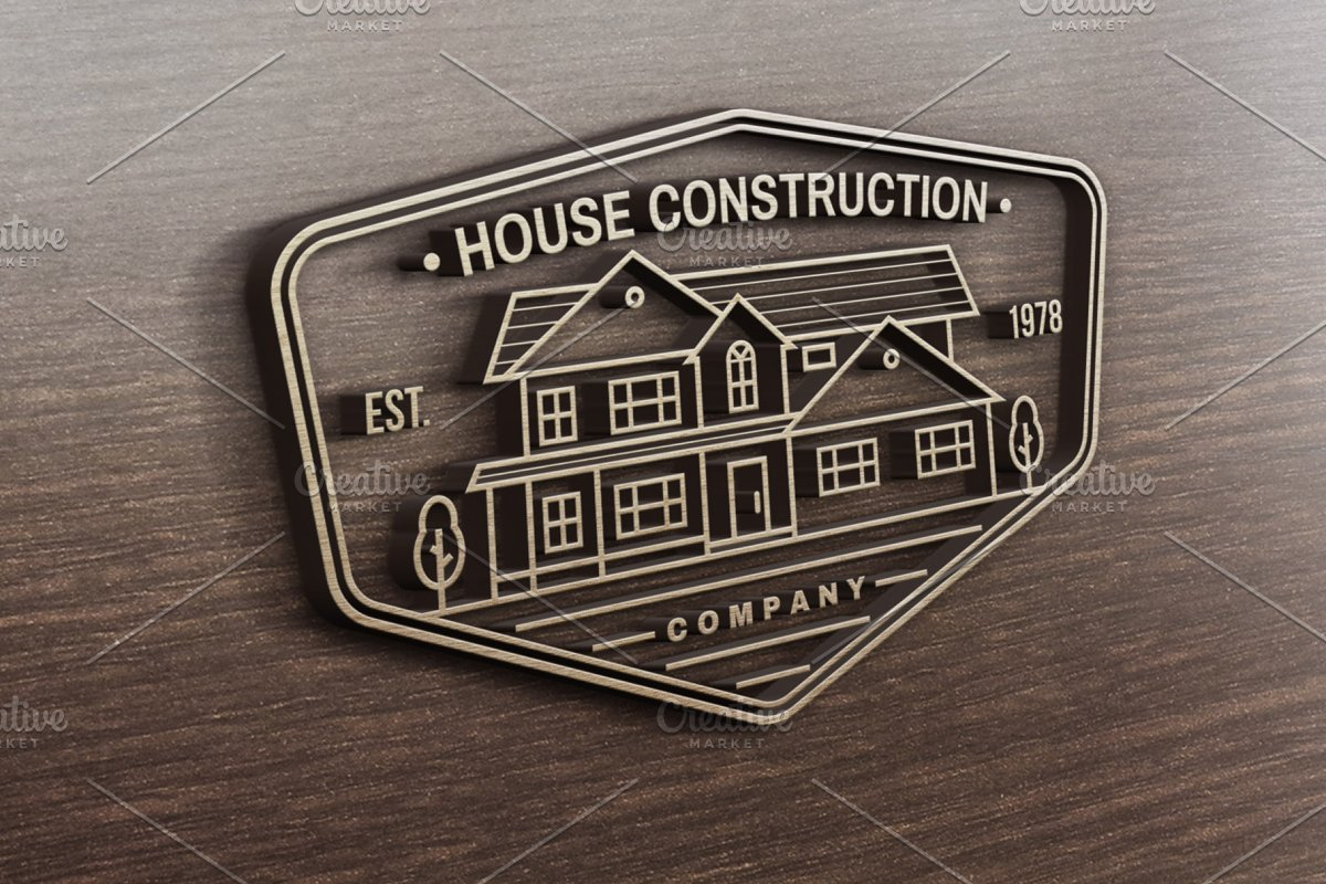 House Construction line badge in Logo Templates - product preview 3