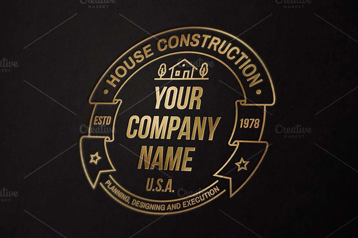 House Construction line badge in Logo Templates - product preview 4