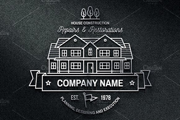 House Construction line badge in Logo Templates - product preview 5