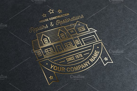 House Construction line badge in Logo Templates - product preview 6