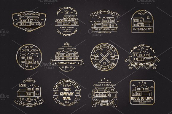 House Construction line badge in Logo Templates - product preview 7