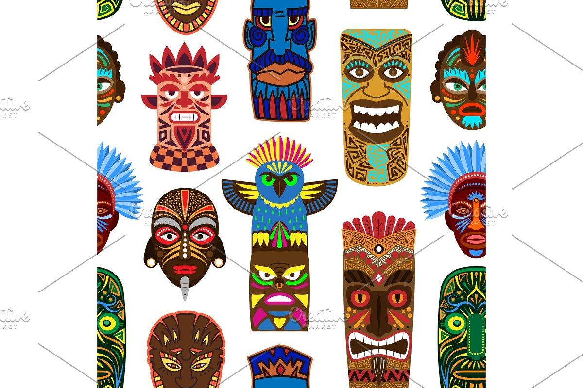 Tribal mask vector masking ethnic