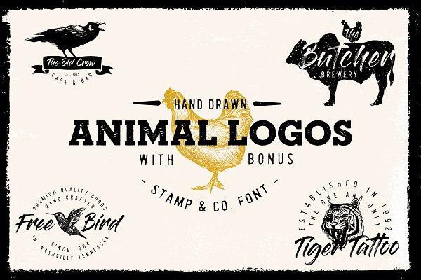 Logo Templates: New Tropical Design - Vintage Sketched Animal logos