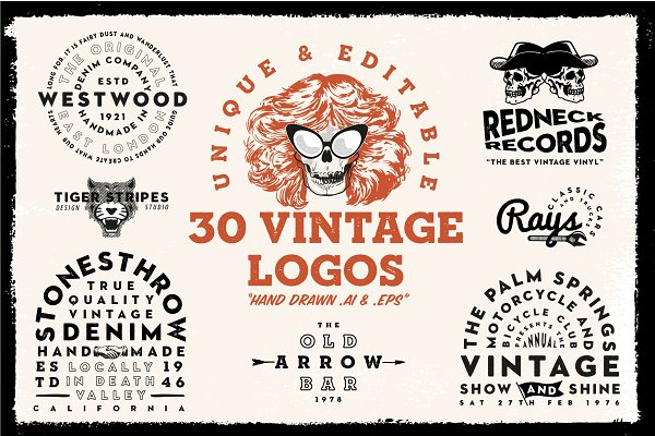 Logo Templates: New Tropical Design - 30 Vintage & Retro logo templates