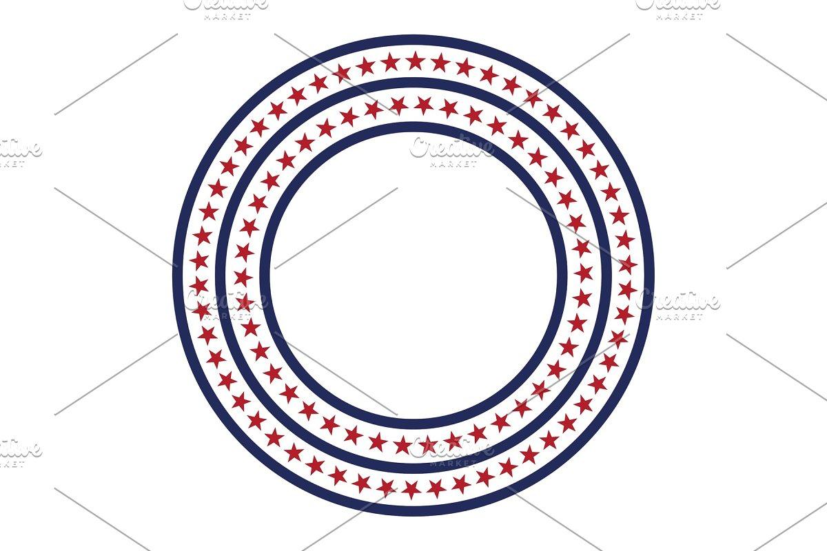 USA star vector pattern round frame