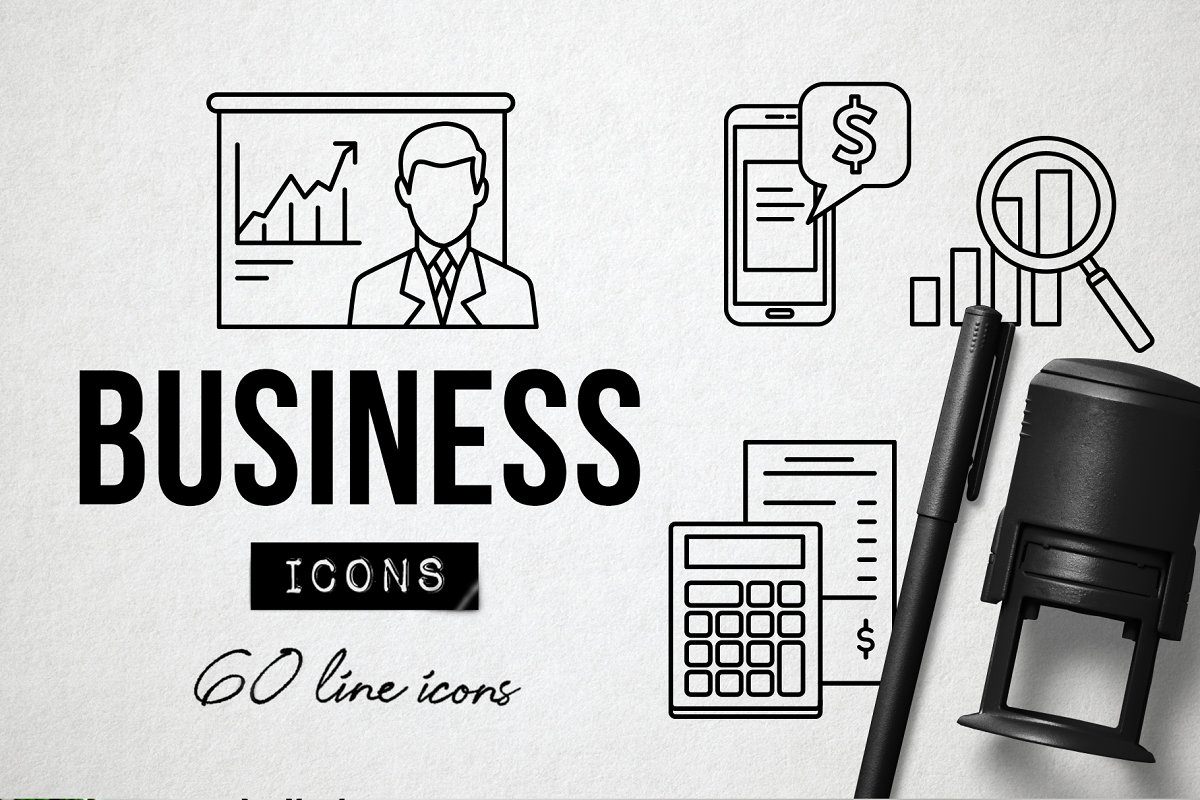 Modern Business Icons Set - Office