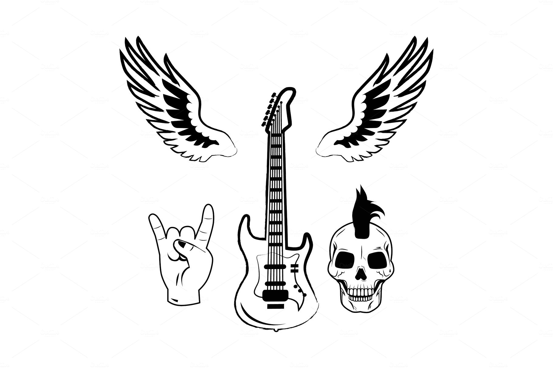 Rock n Roll Symbol Electric Guitar