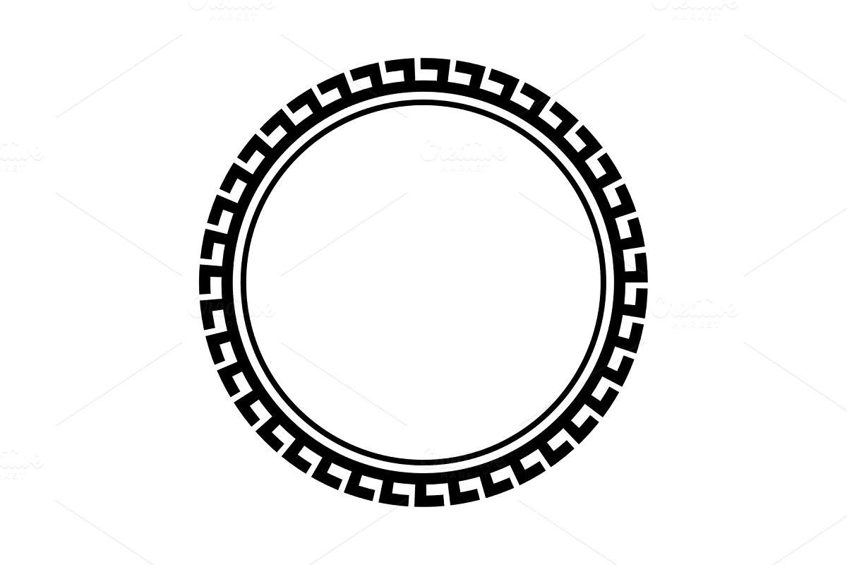 Greek key round frame. Typical