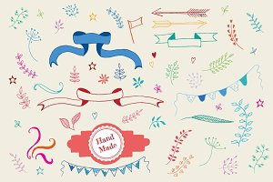 Vector colorful hand-drawn elements