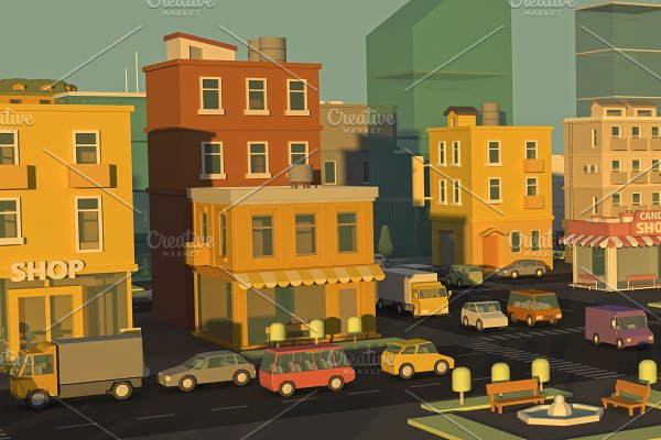 Banner cartoon street panorama city