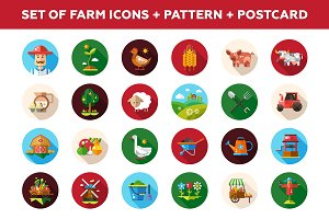 Farm Icons Set + Pattern + Postcard
