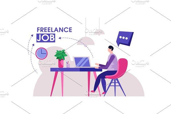 Freelancer man modern home office