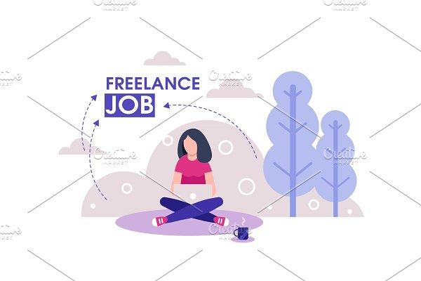 Girl freelancer on outdoor working