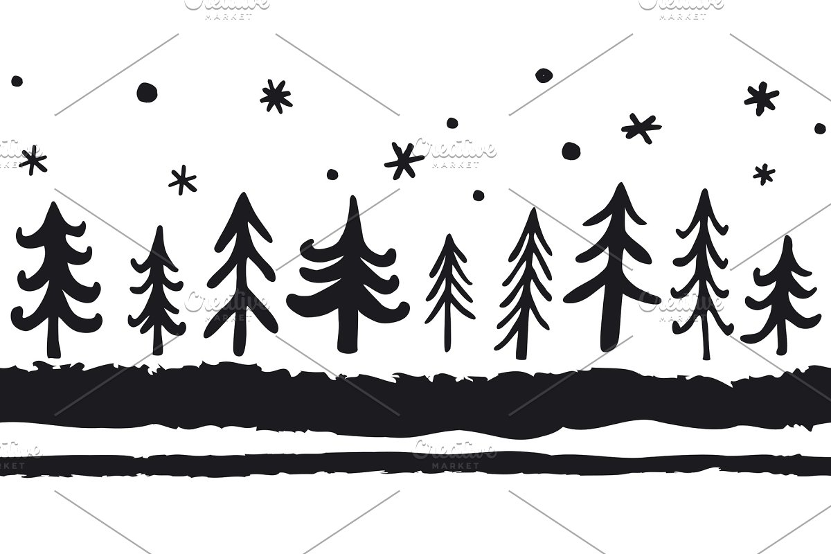 Vector hand-drawn seamless pattern