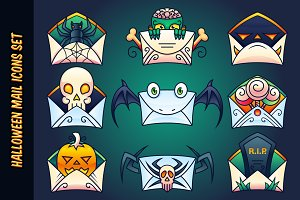 Halloween Mail Icons Set