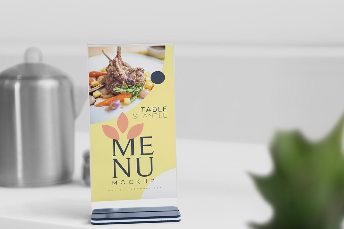 Table Menu Mockups in Product Mockups - product preview 1