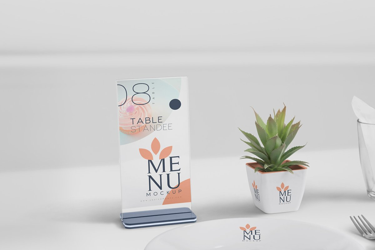 Table Menu Mockups in Product Mockups - product preview 3
